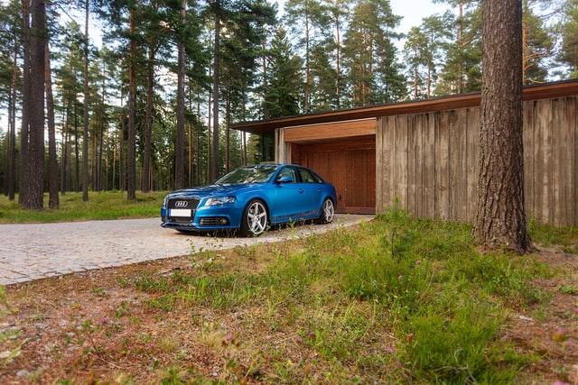 blue car outside